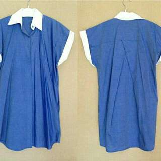 Long Shirt Blue With White Collar (No Brand)
