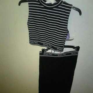 Supre Black & White Jacquard strsight Skirt And Top  - Waist Mid Skirt Size S & High Neck Midriff Top Size XXX $25 SET