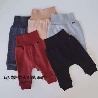 EVA EVA SHOP 冬季新品-新生兒男女寶寶高腰護肚抓絨保暖褲