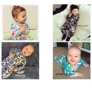 EVA EVA SHOP 冬季新品-新生兒男女寶寶加絨加厚連身拉鍊包腳包屁衣 更新