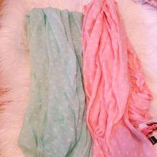 Pastel Pink And Mint Polka Dot Scarves