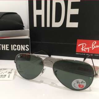 Ray Ban Polarised Aviator In Gunmetal RB3025