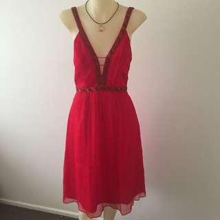 Red Sleeveless Chiffon Dress Size 10
