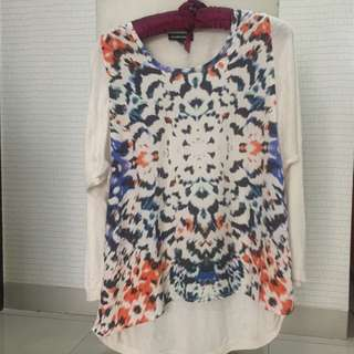Warehouse silk cotton printed top size 36