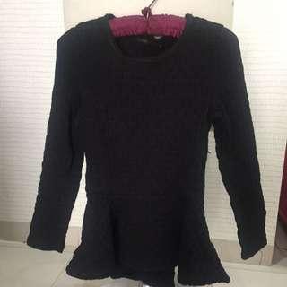 Zara Black peplum long sleeve top size S