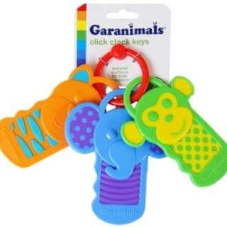 外貿原單美國Garanimals原裝可愛卡通動物鑰匙造型寶寶牙膠固齒器玩具