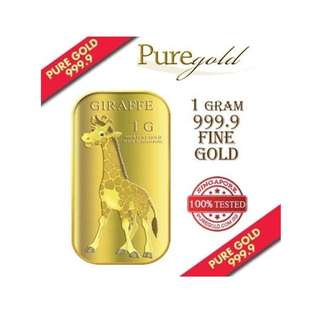Puregold Giraffe Gold Bar 1g