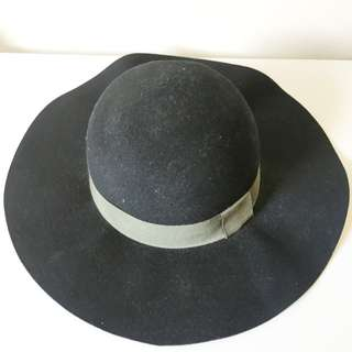 Black Hat With Khaki Ribbon