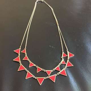 Red And Gold Triangles Necklace