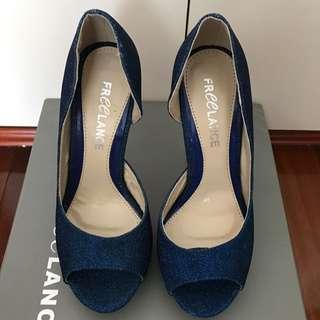 Freelance Blue Glittery Heels Size 36
