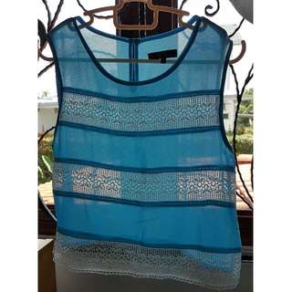 Nichii Sky Blue Sheer Crop Tank Top