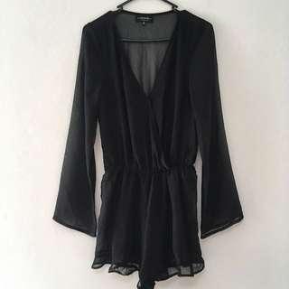 Black Sheer Playsuit