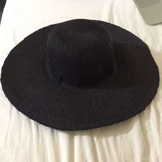 H&M Black Straw Floppy Hat For Summer