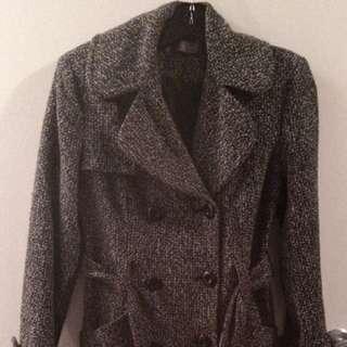 Grey/Black Winter Trench Coat - Small
