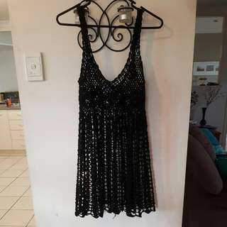 Black Crochet Beach Dress