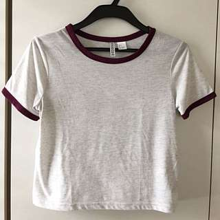 H&M basic crop tee