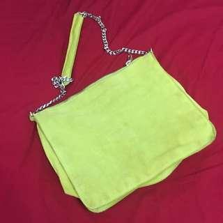 Zara Lime Suede Chain Bag