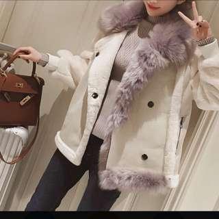 韓版羊羔毛麂皮機車外套
