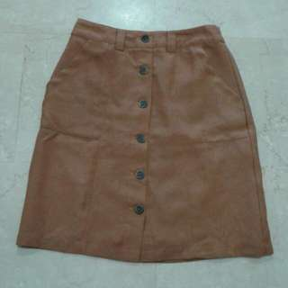 forntieer brown button up skirt
