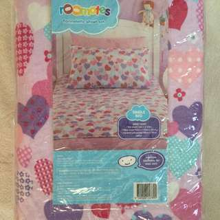 Flannelette girls Single Bed Sheet