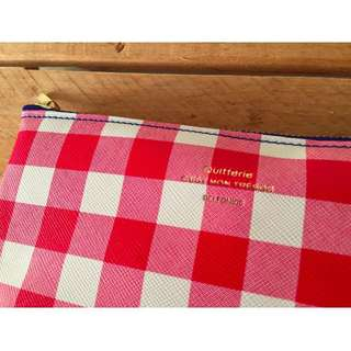 Really Nice Red and White Checked Flat Pouch