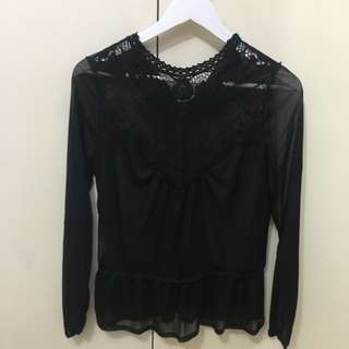 Lace Sheer Long Sleeve Black Top