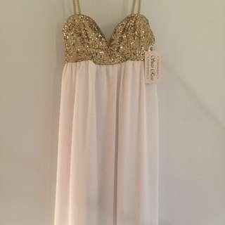 Knee Length Gold & White Dress