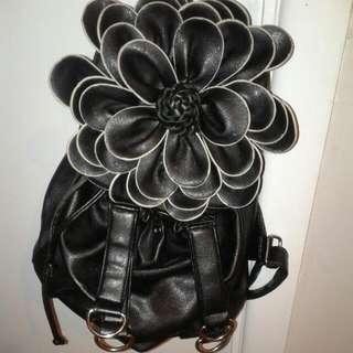 Black Flower Backpack W adjustable straps