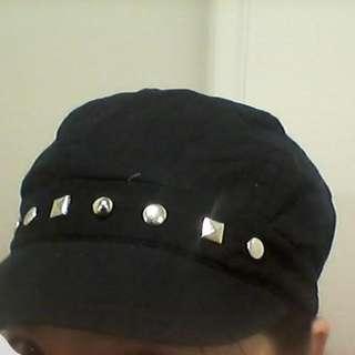 Dark Blue Black Cap With Studs