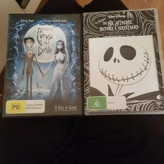 Tim Burton DVDs The Corpse Bride And Nightmare Before Christmas