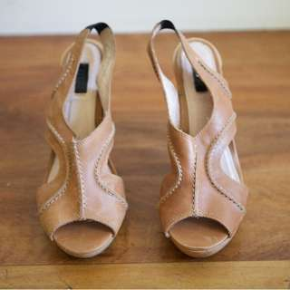 RMK Brown Leather Heeled Sandals