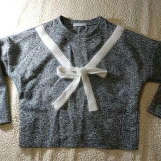 灰色造型綁帶上衣