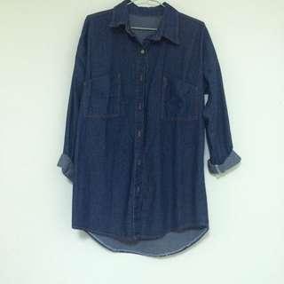Gmarket Realcoco韓網購入 百搭牛仔寬鬆帥氣深藍襯衫外套