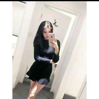針織魚尾裙 黑色