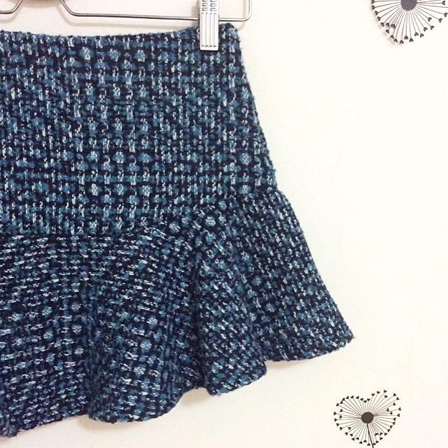 全新藍綠毛呢魚尾短裙