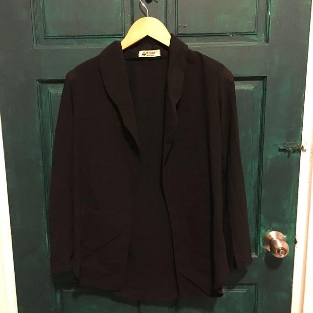 黑雪紡開襟墊肩外套 含運