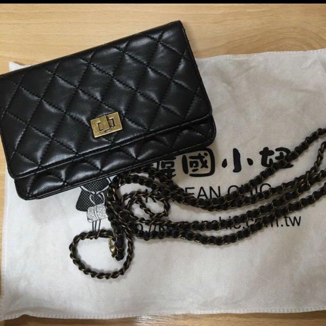 韓國羊皮格菱紋小香包 可背式羊皮夾