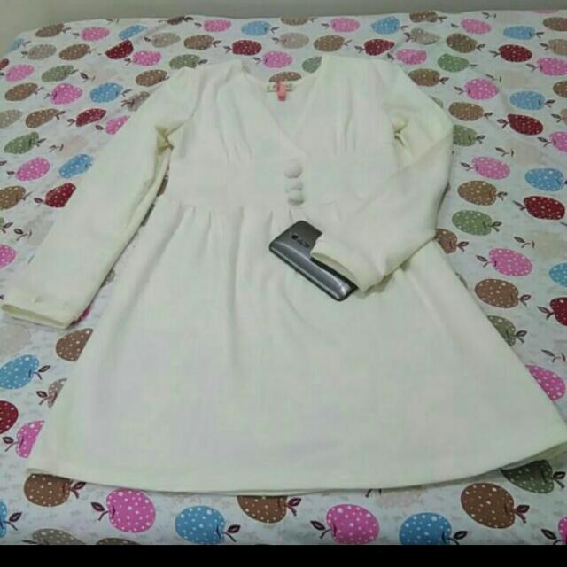 白色棉柔春秋小洋裝 #娃娃裝