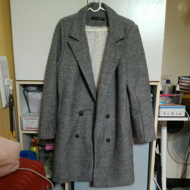 全新內刷毛大衣 灰色款 #韓妞 #大衣 #保暖