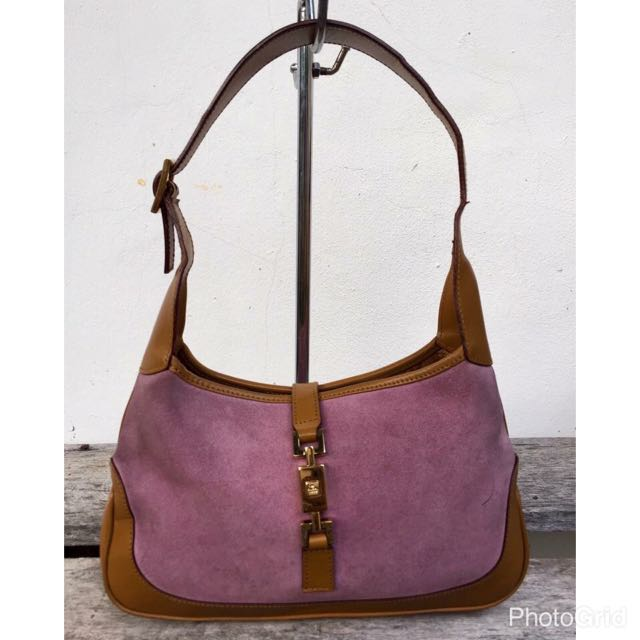 84c149251 Authentic Gucci Jackie-O Pink Suede & Tan Leather Shoulder Bag on Carousell