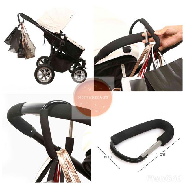 Baby Stroller Big Hook Aluminium Black Pram Hook Baby Stroller Hooks Shopping Bag Hanger Stroller
