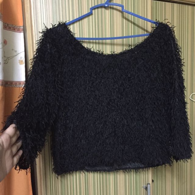 Black Crop Top/3/4 Sleeve