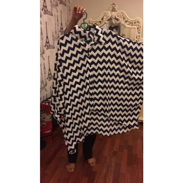 SALE!! Blouse Black N White Big Size