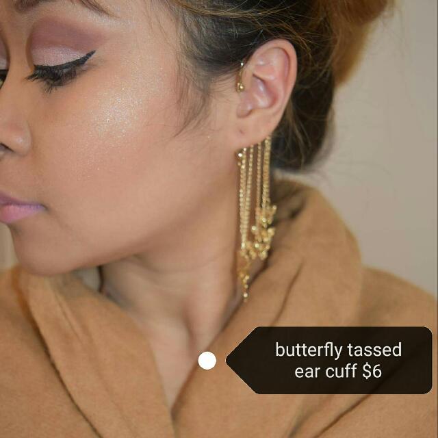 butterfly tassed ear cuff