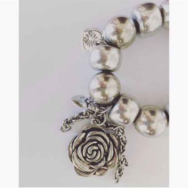 Chunky Bracelet silver and pearl
