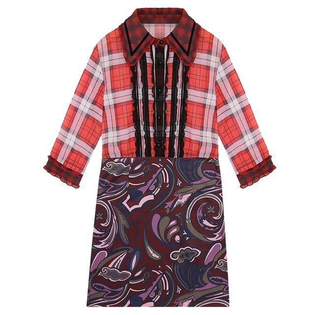 3745f95be13 Designer Inspired Mix Contrast Printed Shirt Dress