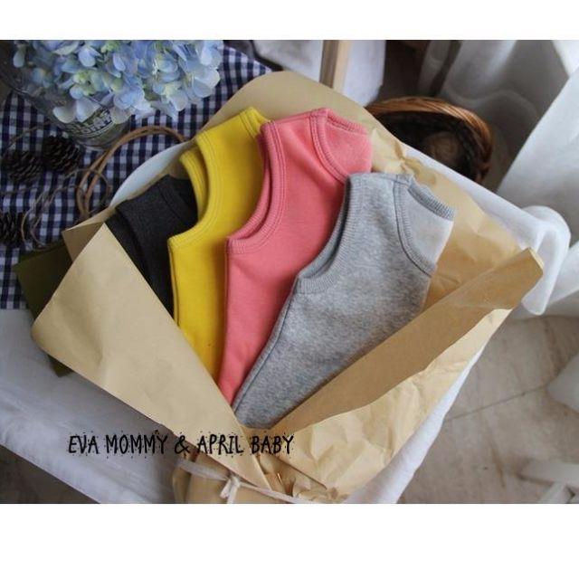 EVA EVA SHOP 冬季新品-男女寶寶實穿度100加絨保暖護肚糖果基本色背心