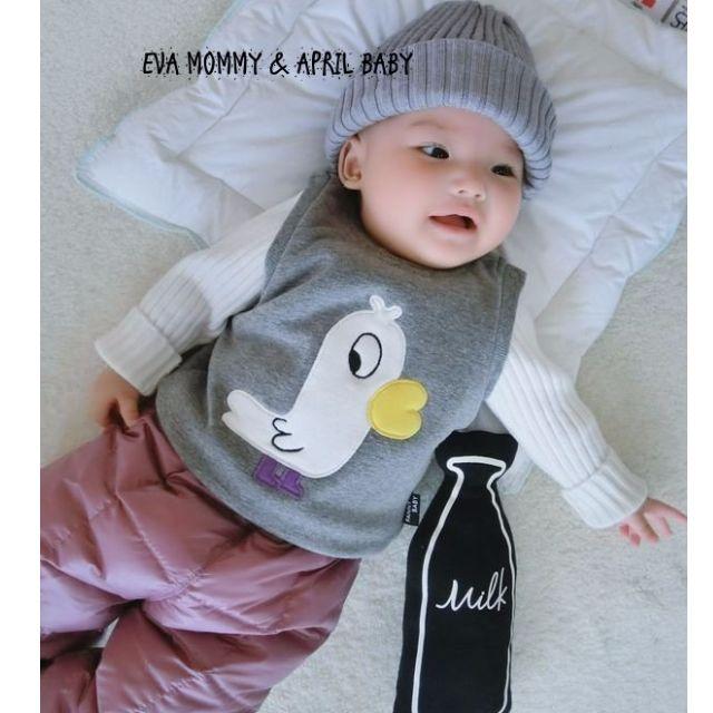 EVA EVA SHOP 冬季新品-新生兒男女寶寶動物系列內刷毛保暖肩按扣背心
