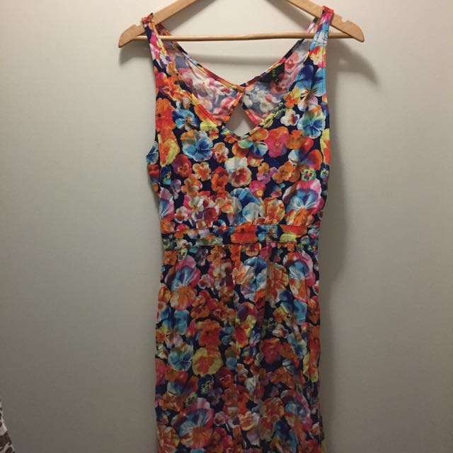 Floral Colourful Open Back Dress