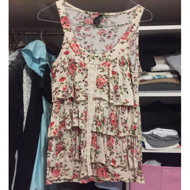 Floral frill singlet top